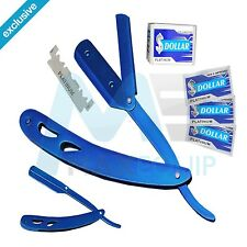 Barber Salon STRAIGHT CUT THROAT Shaving RAZOR AQUA BLUE +10 BLADE FREE Quality