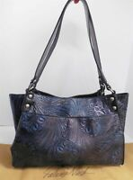 Patricia Nash Navy Blue Tooled Leather Large Tote Bag
