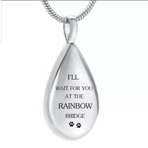 Rainbow Bridge Cremation Necklace Keepsake Memorial Jewellery Dog Cat Pet Ashes