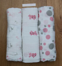 Aden Anais Baby Girl Swaddle Blanket ~ White, Pink & Gray ~ Goldfish ~ Choosee 1