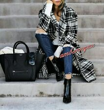 ZARA NEW CHECK MAXI DOUBLE BRESTED WOOL COAT SIZE S UK 8