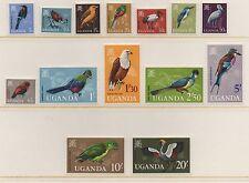 Uganda 1965 aves DEFINITIVES SG113-126 conjunto de menta montado Sellos Gato £ 48