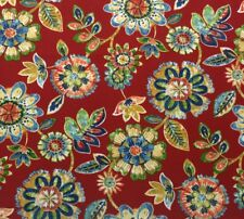 "RICHLOOM DAELYN CHERRY RED ABSTRACT FLORAL OUTDOOR INDOOR FABRIC BY YARD 54""W"