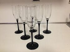 "LUMINARC FRANCE BLACK STEM CHAMPAGNE FLUTE GLASSES - 8-3/4"" - 6 TOTAL"