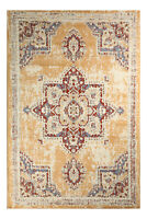 Distressed Bohemian - 5'x8', Ivory, Transitional Moroccan Oriental Rug - 512