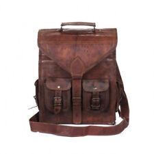 New Men's Vintage Genuine Leather Messenger Laptop Backpack Rucksack Bag Satchel