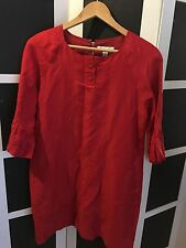 COUNTRY ROAD LINEN/SILK RED DRESS SZ 10