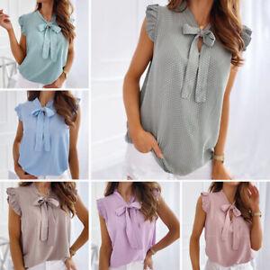 Womens Fashion Polka Dot Printed T Shirt Blouse Big Bow Sleeveless Casual Tops