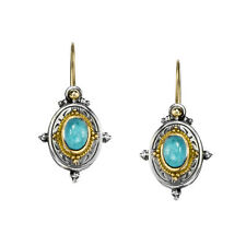 Gerochristo 1005N ~ Solid Gold, Sterling Silver & Spinel Medieval Drop Earrings