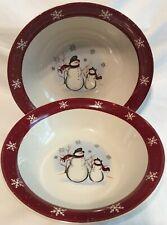 """Set of Two 10"""" Serving Bowls * ROYAL SEASONS Stoneware Snowmen Christmas Holiday"""