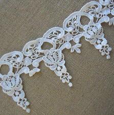 4.5'' Wide Rayon Venise Vintage Victorian Floral Lace Trim Ivory s0127