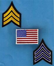 SERGEANT CHEVRON Military Officer USA FLAG Sew On Iron On PATCH SET 3 pcs New