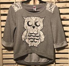 LN~BOUTIQUE~BEAUTEES~OWL~LACE~HI-LOW~SWEAT SHIRT~SWEATSHIRT~GIRL'S~LARGE