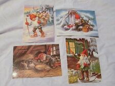 Lot of 4 Jenny Nystrom Gnome Postcards
