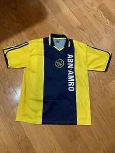 2000-2001 Ajax Amsterdam Soccer Jersey Away Yellow ABN AMRO  Large