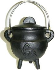 "3.5 "" Cast Iron Triquetra Cauldron Incense Burner CHARMED Charcoal POT BELLY W@W"