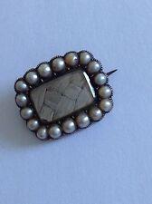 Encantador perla semilla de oro 9ct Victoriano Antiguo Set Broche de encaje de luto