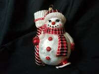 Christopher Radko Snowman with Broom Vintage Frosted Mercury Glass Ornament