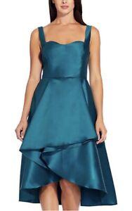 Adrianna Papell Sleeveless A Line Dress with Asymmetrical High Low Skirt UK 12