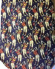 Rene Chagal Italian Design Neck Tie Golf Pattern Navy Red Yellow (P278)