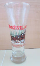 """Budweiser Clydesdale Horse Christmas Holiday Pilsner Draught Beer 7"""" Glass 1988"""