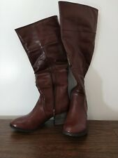 Sociology Women's Riding Boots Size 7.5 Wide Calf Tall Heel Dark Rum Knee