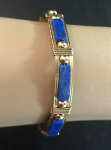 "14k Gold Filled Bracelet Lapis Bangle Wire Wrapped Handmade Rolled Gold 7"" #759"