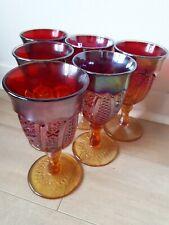 Vintage Set Of 6 Heirloom Indiana Carnival Glass Wine Goblet Iridescent Red