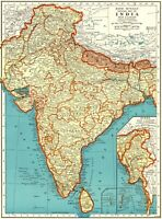 1942 Antique INDIA Map Vintage Map of BURMA MAP of India Gallery Wall Art 8192