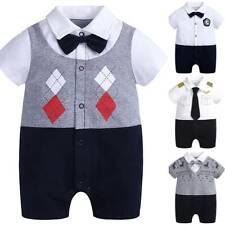 Newborn Infant Baby Boy Gentleman Clothes Romper Summer Bodysuit Jumpsuit Outfit