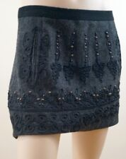 NANETTE LEPORE Grey Bronze Studded Black Embroidery Lined Mini Party Skirt UK8