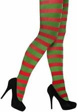 Womens Adult Sexy Christmas Stripe Stripey elf Tights Elf Miss Santa Red/Green