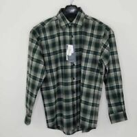 Pendleton Mens Button Front Lodge Shirt Dark Green White Plaid Virgin Wool L New