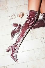 Jeffrey Campbell Cienega Crushed Pink Velvet Parkway Thigh High Boots Sz 7.5 New