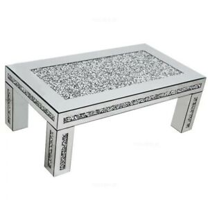 Mirrored Crushed Diamond Coffee Table Contemporary Design Diamonds Stand