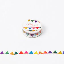 1.5cm*8m Colorful Flag Washi Tape Paper Sticky Tool Adhesive Sticker Decor QP