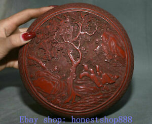 "6.8"" Qianlong Marked China Red Lacquerware Pine Tree Old Man Dynasty Jewelry box"