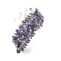 Amethyst Chip Bead Stretch Bracelet 7 inch B019-10 Protection Addictions Weight