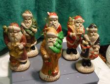 Porcelain Antique style Santa Ornaments -Around the World International Set of 6