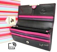 Women's Visconti Purse Soft Leather RFID Wallet Black Berry New in Gift Box R11