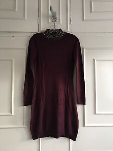 Warehouse Embellished High Neck Maroon Brown Bodycon Party Jumper Dress -Size 10