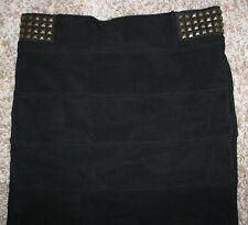 21 Twenty One Size Large Black Stretch Mini Pencil Skirt Studded Waist Band