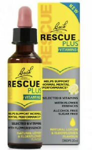 BACH RESCUE PLUS VITAMINS/Dropper /Lemon and Elderflower/ Stress Relief / 20 ml