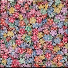 """50 Flower Shape Spring Bead 3/8"""" Assorted Pastel Colors"""