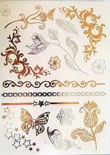 Temporary Tattoo,Einmal Tattoo,Goldenes Tattoo / WX-113WT, Schmetterling/ Sterne