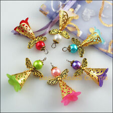 6Pcs Mixed Acrylic Angel Wings Antqiued Gold Tone Charms Pendants 22x37mm