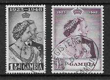 1948 KGVI Royal Silver Wedding Set RSW SG164 & SG165 £1 Mauve Fine Used GAMBIA