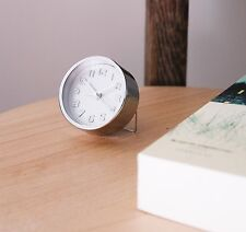 Kikkerland Mini Silver Plated Alarm Clock Built-In Stand Battery Included Gift
