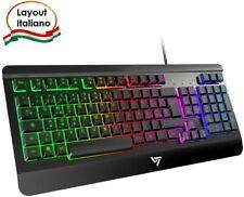 Tastiera meccanica Gaming con retroilluminazione LED RGB, Layout italiano, Nero