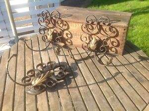 3 Arts & Crafts Black & Gold Leaves wrought iron double wall Light Sconces